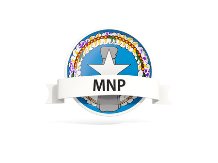 mariana: Flag of northern mariana islands with banner and country code isolated on white. 3D illustration