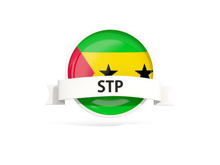 Flag of sao tome and principe with banner and country code isolated on white. 3D illustration