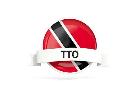 Flag of trinidad and tobago with banner and country code isolated on white. 3D illustration