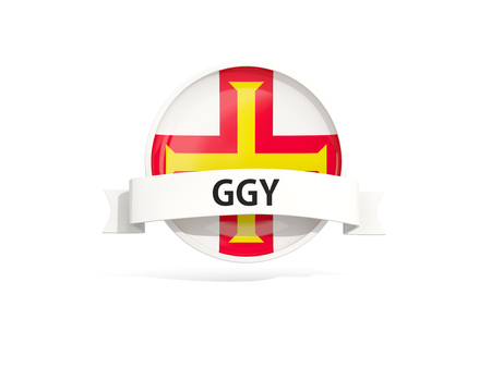 guernsey: Flag of guernsey with banner and country code isolated on white. 3D illustration Stock Photo