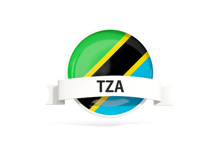 tanzania: Flag of tanzania with banner and country code isolated on white. 3D illustration