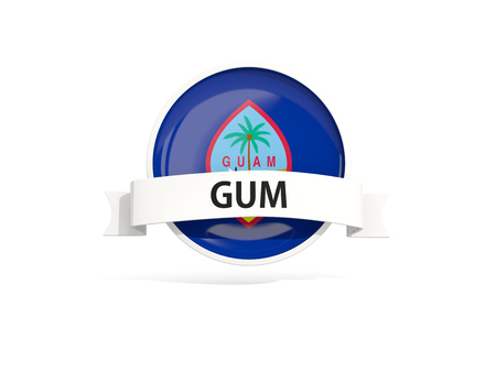 guam: Flag of guam with banner and country code isolated on white. 3D illustration
