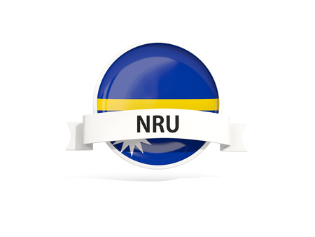nauru: Flag of nauru with banner and country code isolated on white. 3D illustration