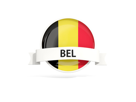Flag of belgium with banner and country code isolated on white. 3D illustration Stock Photo