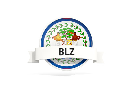 belize: Flag of belize with banner and country code isolated on white. 3D illustration Stock Photo