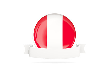bandera de peru: Flag of peru with empty banner  isolated on white. 3D illustration