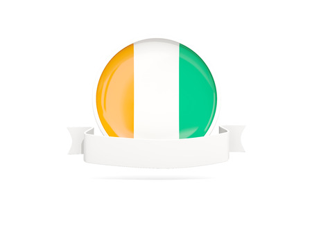 Flag of cote d Ivoire with empty banner  isolated on white. 3D illustration