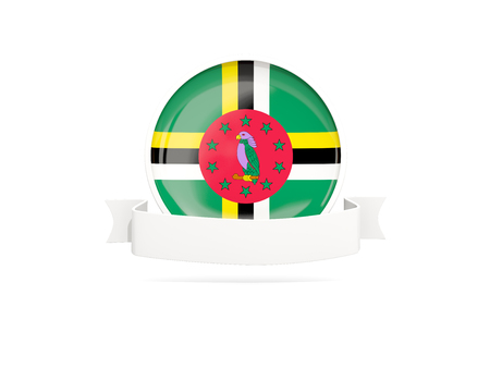 Flag of dominica with empty banner  isolated on white. 3D illustration