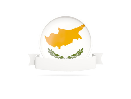 Flag of cyprus with empty banner  isolated on white. 3D illustration Stock Photo