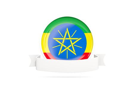 national flag ethiopia: Flag of ethiopia with empty banner  isolated on white. 3D illustration Stock Photo