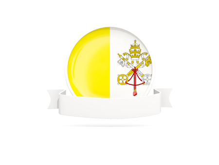 Flag of vatican city with empty banner  isolated on white. 3D illustration