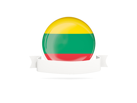Flag of lithuania with empty banner  isolated on white. 3D illustration