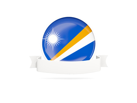 marshall: Flag of marshall islands with empty banner  isolated on white. 3D illustration Stock Photo