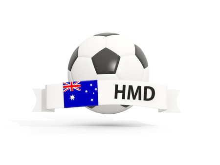 mcdonald: Flag of heard island and mcdonald islands, football with banner and country code isolated on white. 3D illustration