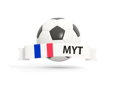 mayotte: Flag of mayotte, football with banner and country code isolated on white. 3D illustration