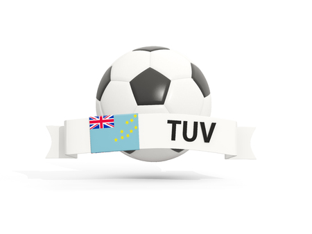 tuvalu: Flag of tuvalu, football with banner and country code isolated on white. 3D illustration