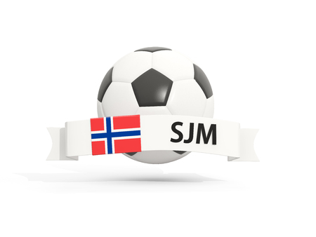 jan: Flag of svalbard and jan mayen, football with banner and country code isolated on white. 3D illustration