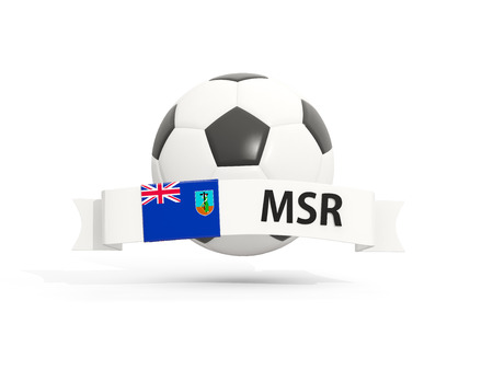 montserrat: Flag of montserrat, football with banner and country code isolated on white. 3D illustration Stock Photo