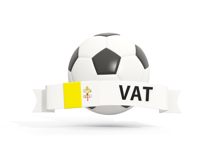 Flag of vatican city, football with banner and country code isolated on white. 3D illustration