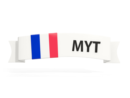 mayotte: Flag of mayotte on banner and country code isolated on white. 3D illustration