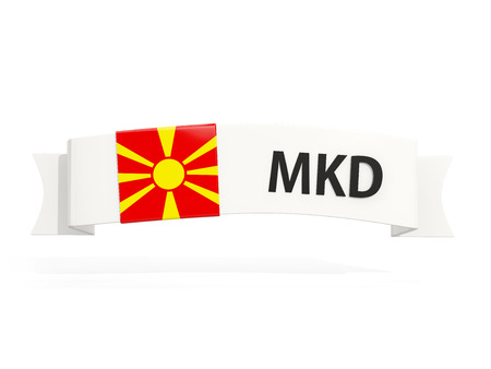 Flag of macedonia on banner and country code isolated on white. 3D illustration