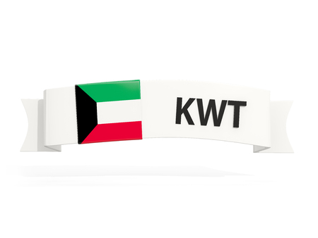 Flag of kuwait on banner and country code isolated on white. 3D illustration Stock Photo