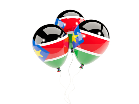 south sudan: Three balloons with flag of south sudan isolated on white. 3D illustration