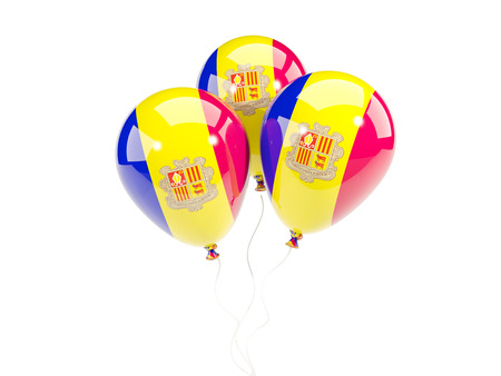 Three balloons with flag of andorra isolated on white. 3D illustration