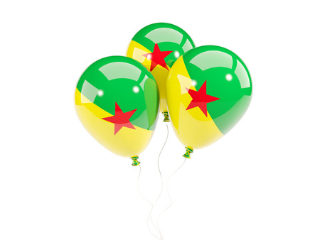guiana: Three balloons with flag of french guiana isolated on white. 3D illustration