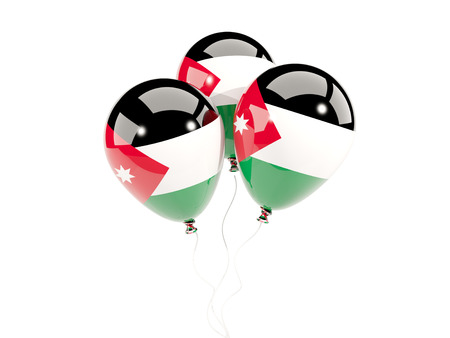 Three balloons with flag of jordan isolated on white. 3D illustration