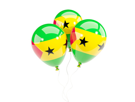Three balloons with flag of sao tome and principe isolated on white. 3D illustration Stock Photo