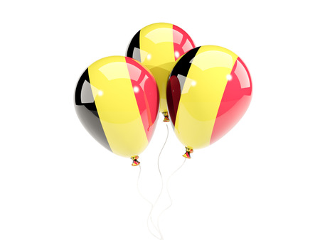 Three balloons with flag of belgium isolated on white. 3D illustration