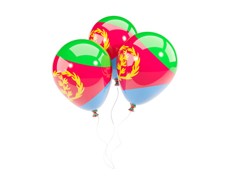 Three balloons with flag of eritrea isolated on white. 3D illustration Stock Photo