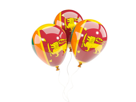 Three balloons with flag of sri lanka isolated on white. 3D illustration Stock Photo