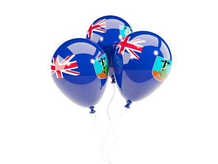 Three balloons with flag of montserrat isolated on white. 3D illustration
