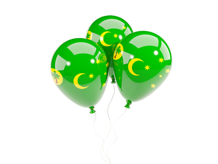 cocos: Three balloons with flag of cocos islands isolated on white. 3D illustration Stock Photo