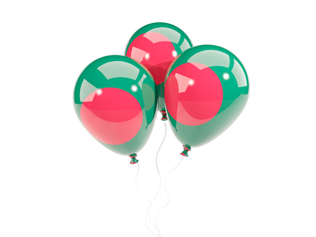 Three balloons with flag of bangladesh isolated on white. 3D illustration