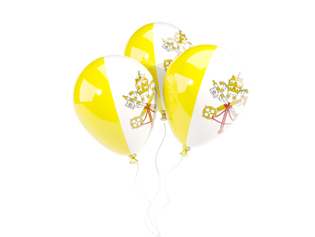 Three balloons with flag of vatican city isolated on white. 3D illustration