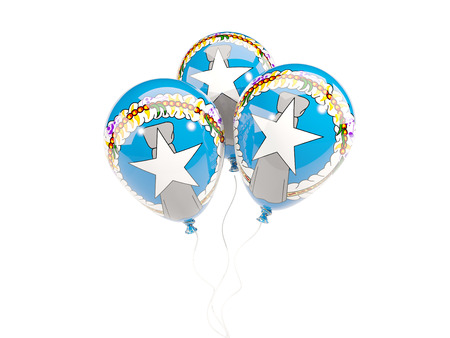 mariana: Three balloons with flag of northern mariana islands isolated on white. 3D illustration