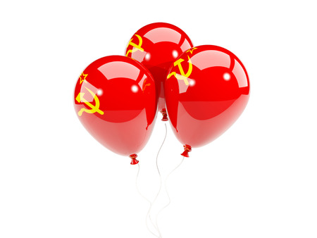 Three balloons with flag of ussr isolated on white. 3D illustration Stock Photo