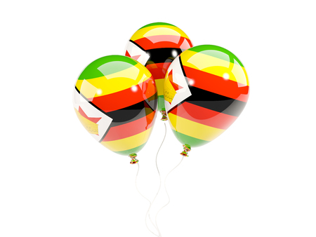 Three balloons with flag of zimbabwe isolated on white. 3D illustration