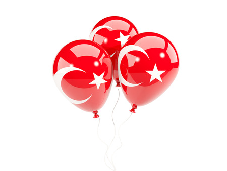Three balloons with flag of turkey isolated on white. 3D illustration