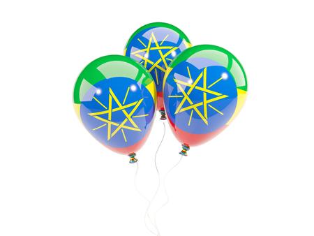 national flag ethiopia: Three balloons with flag of ethiopia isolated on white. 3D illustration Stock Photo