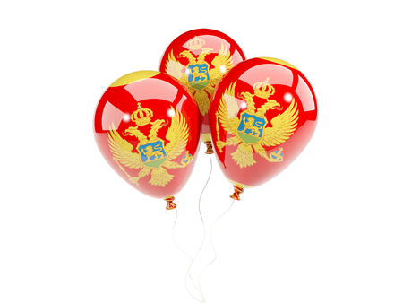 Three balloons with flag of montenegro isolated on white. 3D illustration