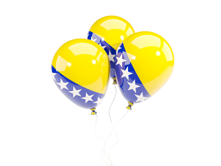 Three balloons with flag of bosnia and herzegovina isolated on white. 3D illustration
