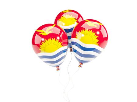 Three balloons with flag of kiribati isolated on white. 3D illustration