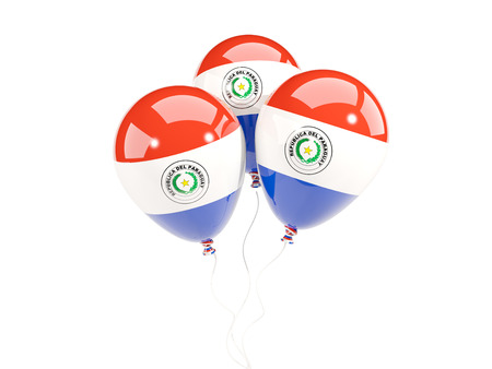 bandera de paraguay: Three balloons with flag of paraguay isolated on white. 3D illustration