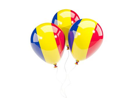 Drei Ballone mit der Flagge von Rumänien getrennt auf Weiß. 3D-Darstellung