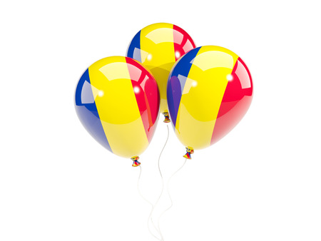 Three balloons with flag of romania isolated on white. 3D illustration