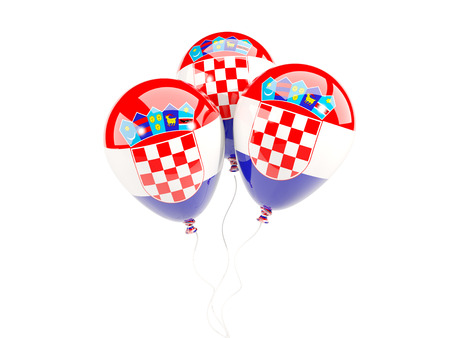 bandera croacia: Three balloons with flag of croatia isolated on white. 3D illustration